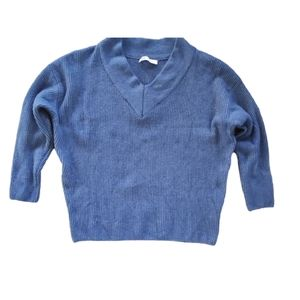Zara Textured Crop Knit Sweater Blue M